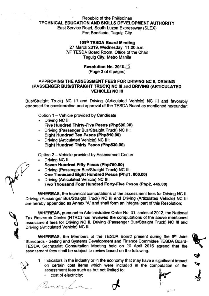 Assessment Fees for Senior High School Technical-Vocational-Livelihood Specializations