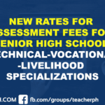 NEW RATES FOR ASSESSMENT FEES FOR SENIOR HIGH SCHOOL TECHNICAL-VOCATIONAL-LIVELIHOOD SPECIALIZATIONS