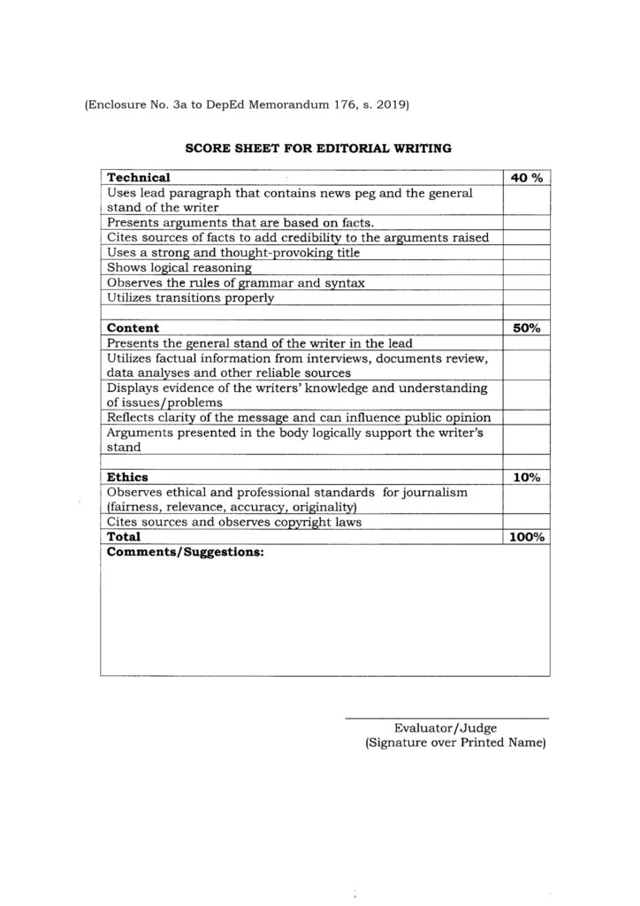 2020 NATIONAL SCHOOLS PRESS CONFERENCE - SCORE SHEET FOR EDITORIAL WRITING