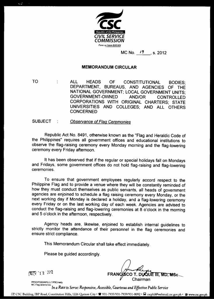 CSC Memorandum Circular on Flag Ceremonies