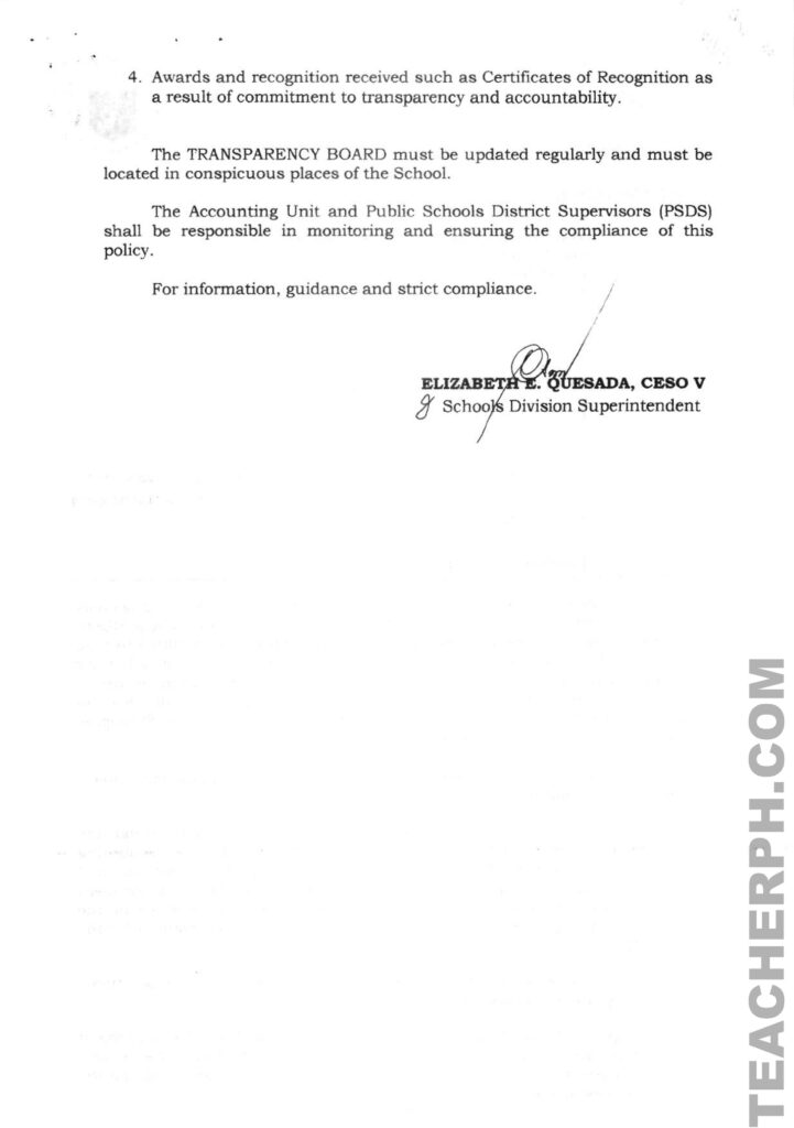 DEPED GUIDELINES ON THE MAINTENANCE OF TRANSPARENCY BOARD FOR SCHOOL MOOE AND PROCUREMENT ACTIVITIES