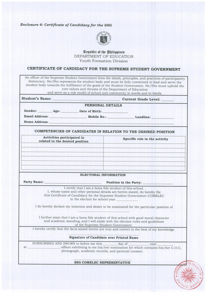 Certificate of Candidacy for the Supreme Student Government (SSG)