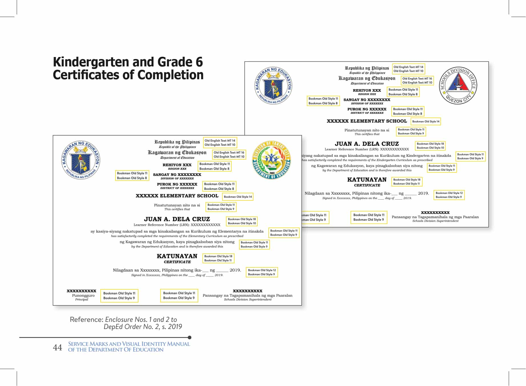 2020 DepEd Standard Format and Templates for Certificates of Completion and Senior High School Diploma