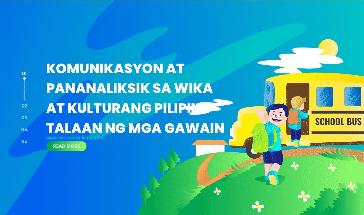 Komunikasyon at Pananaliksik sa Wika at Kulturang Pilipino Talaan ng mga Gawain