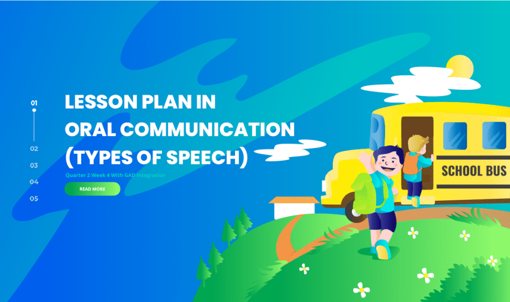 Lesson Plan in Oral Communication (Types of Speech) Quarter 2 Week 4 With GAD Integration