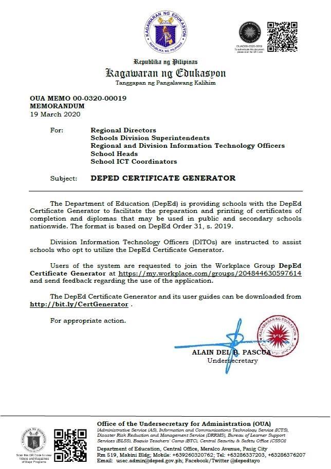 2020 DepEd Certificate Generator and User Guide Memorandum
