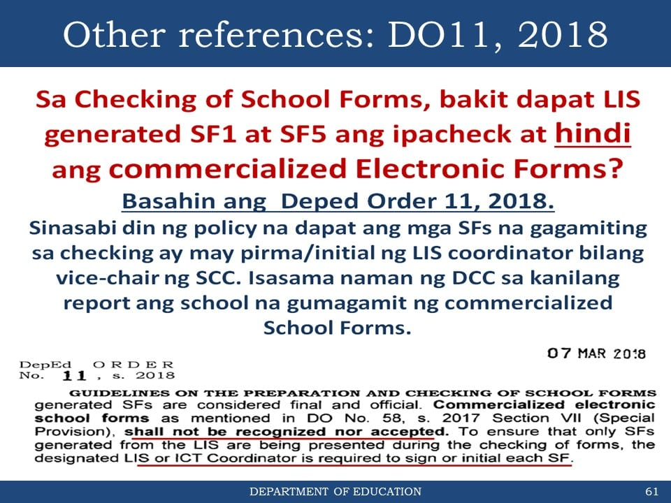 General Reminders on the Checking of School Forms for School Year 2019-2020