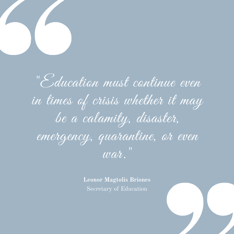 Education Must Continue DepEd Secretary Leonor Magtolis Briones Updated