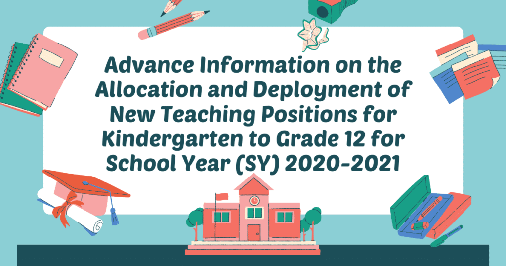 DepEd New Teaching Positions for Kindergarten to Grade 12 for SY 2020-2021