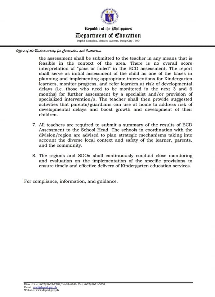DepEd Memorandum on Age Qualification of Kindergarten Learners in Public and Private Schools