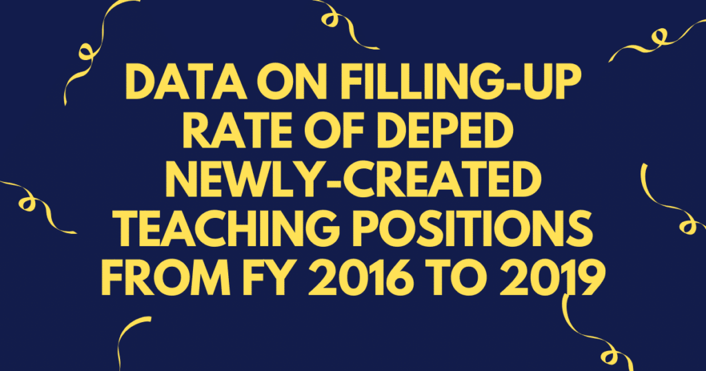 Data on Filling-Up Rate of DepEd Newly-Created Teaching Positions from FY 2016 to 2019