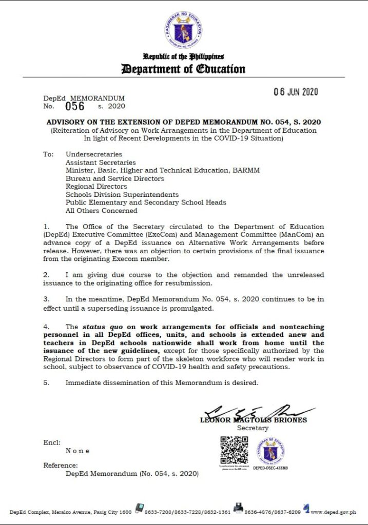 Advisory on the Extension of Deped Memorandum No. 054, s. 2020