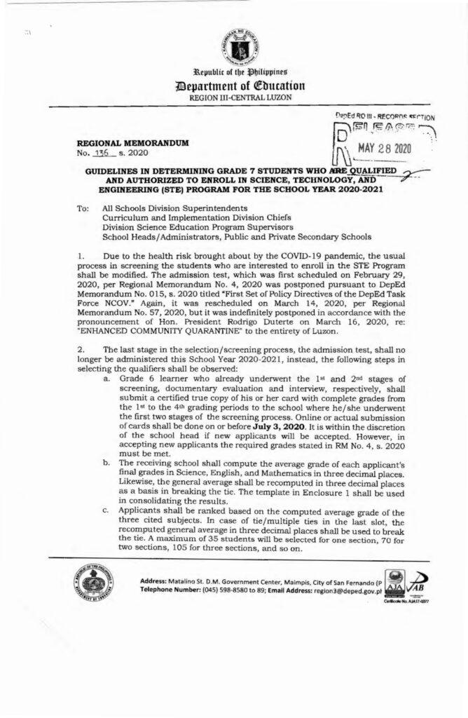 DepEd Region III STE Program Qualifications (Grade 7) for SY 2020-2021
