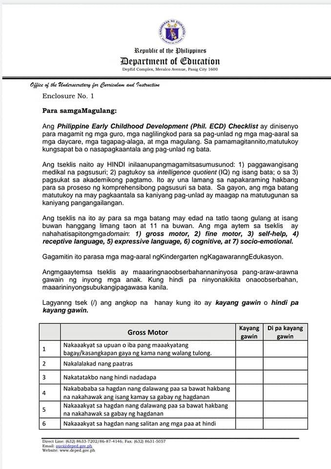 Philippine Early Childhood Development (Phil. ECD) Checklist
