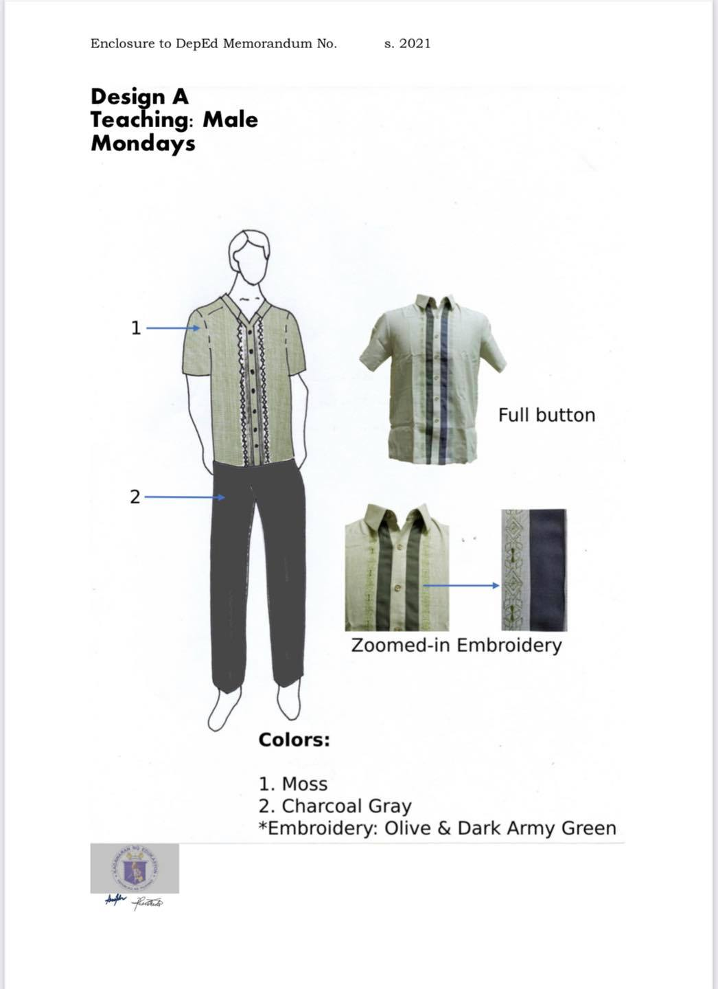 DepEd National Uniform Design A for Male Teaching Personnel (Mondays)