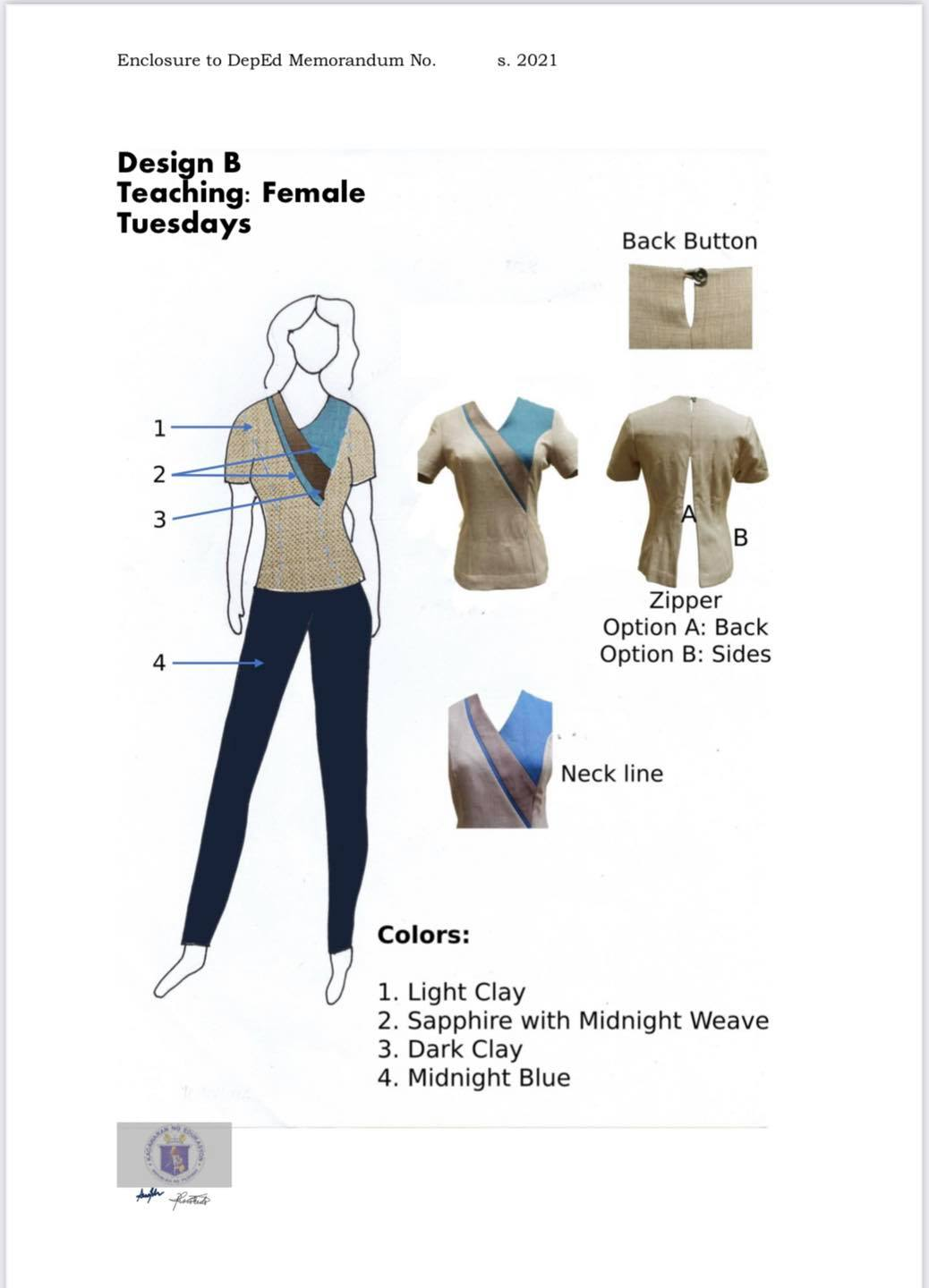DepEd National Uniform Design B for Female Teaching Personnel (Tuesdays)