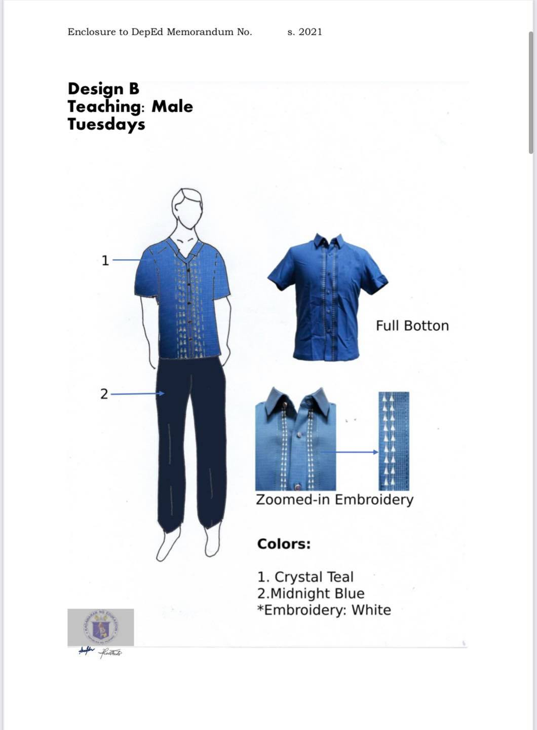 DepEd National Uniform Design B for Male Teaching Personnel (Tuesdays)