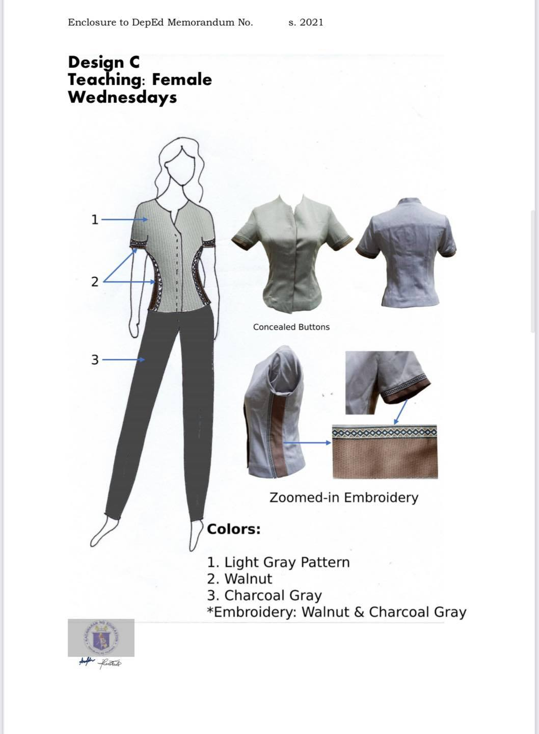 DepEd National Uniform Design C for Female Teaching Personnel (Wednesdays)