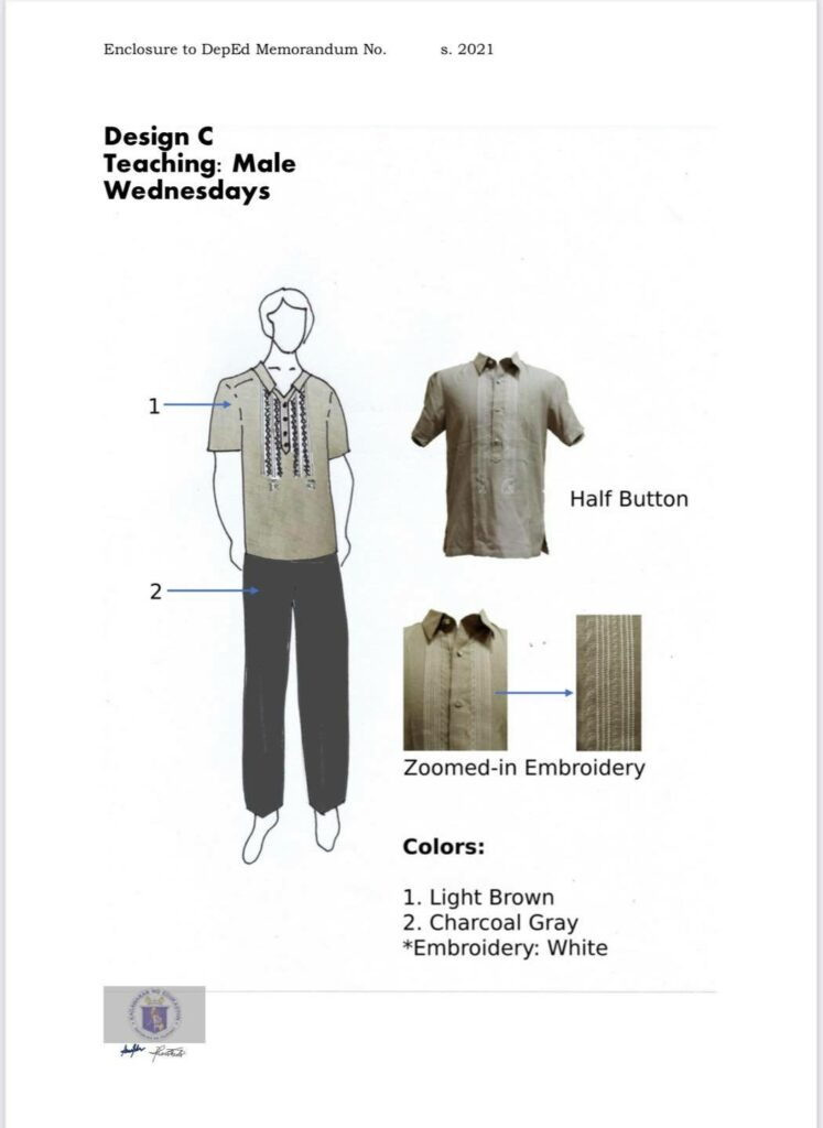DepEd National Uniform Design C for Male Teaching Personnel (Wednesdays)