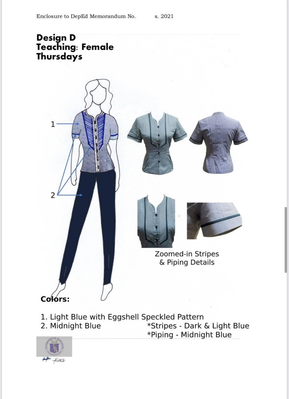 DepEd National Uniform Design D for Female Teaching Personnel (Thursdays)