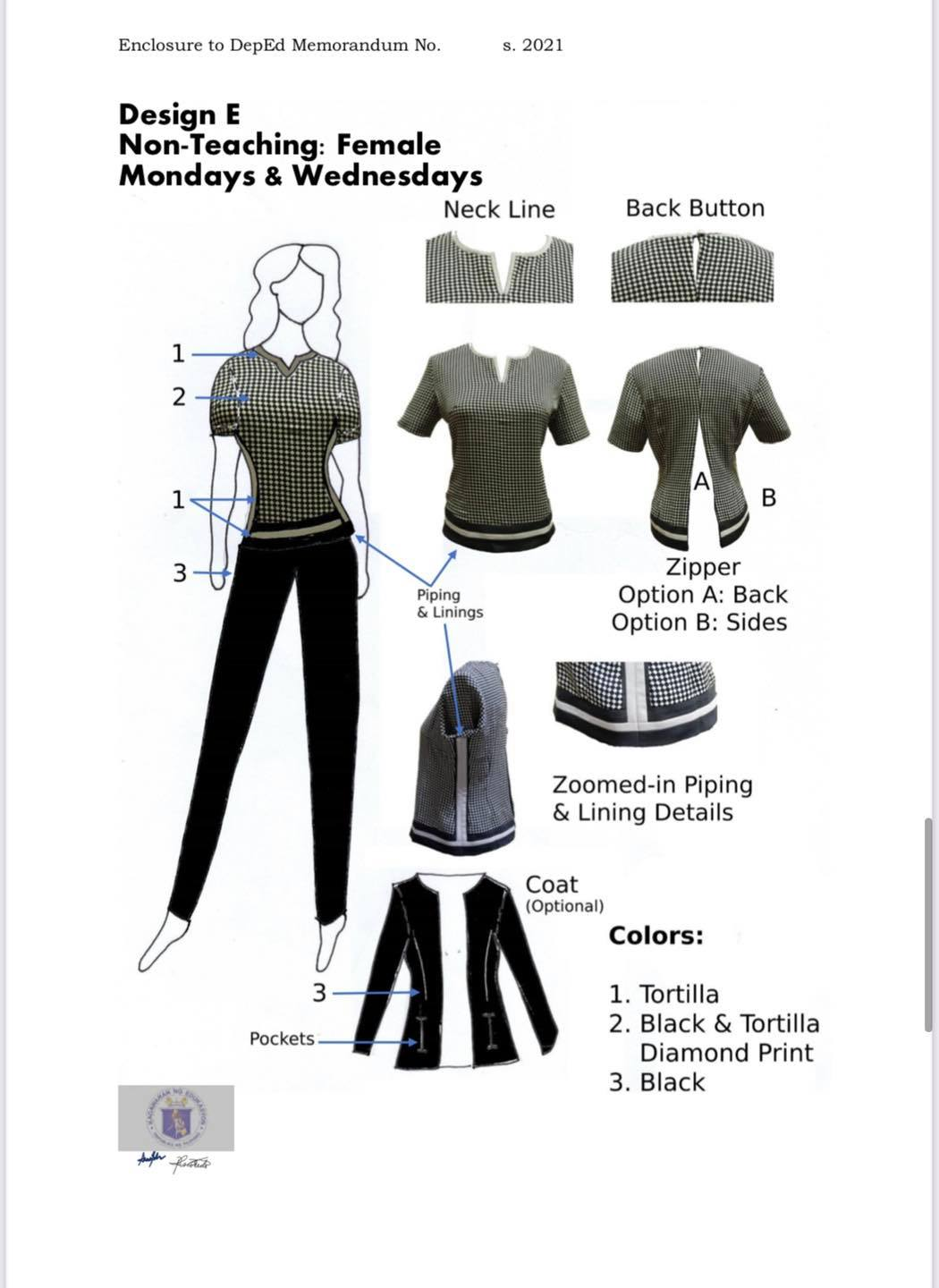 DepEd National Uniform Design E for Female Non-Teaching Personnel (Mondays and Wednesdays)