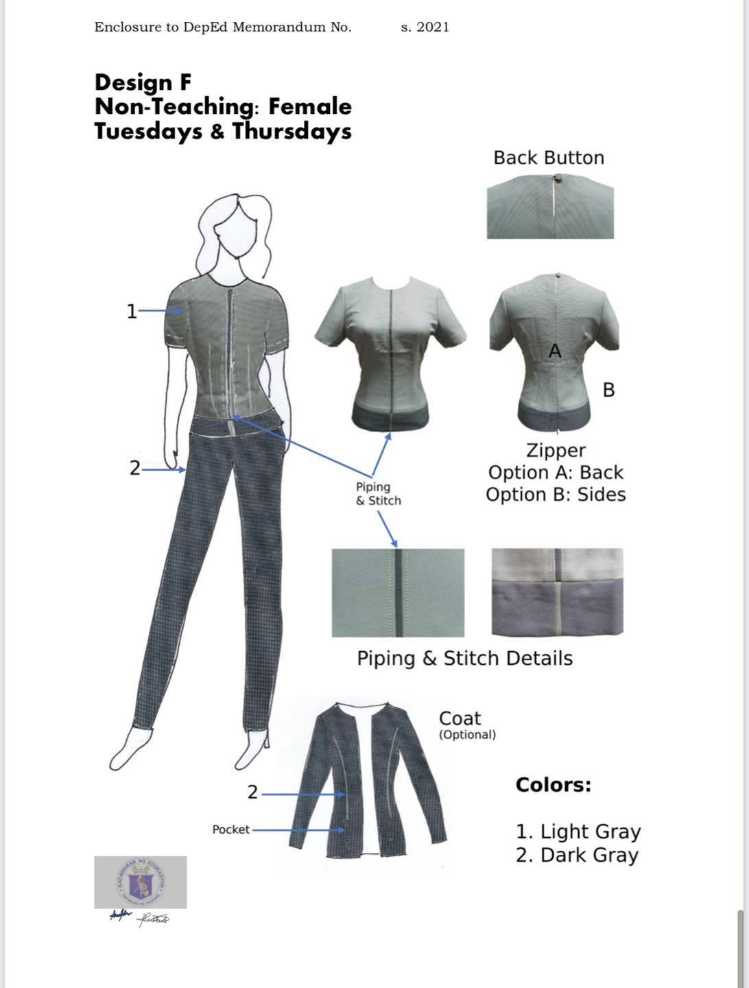 DepEd National Uniform Design F for Female Non-Teaching Personnel (Tuesdays and Thursdays)