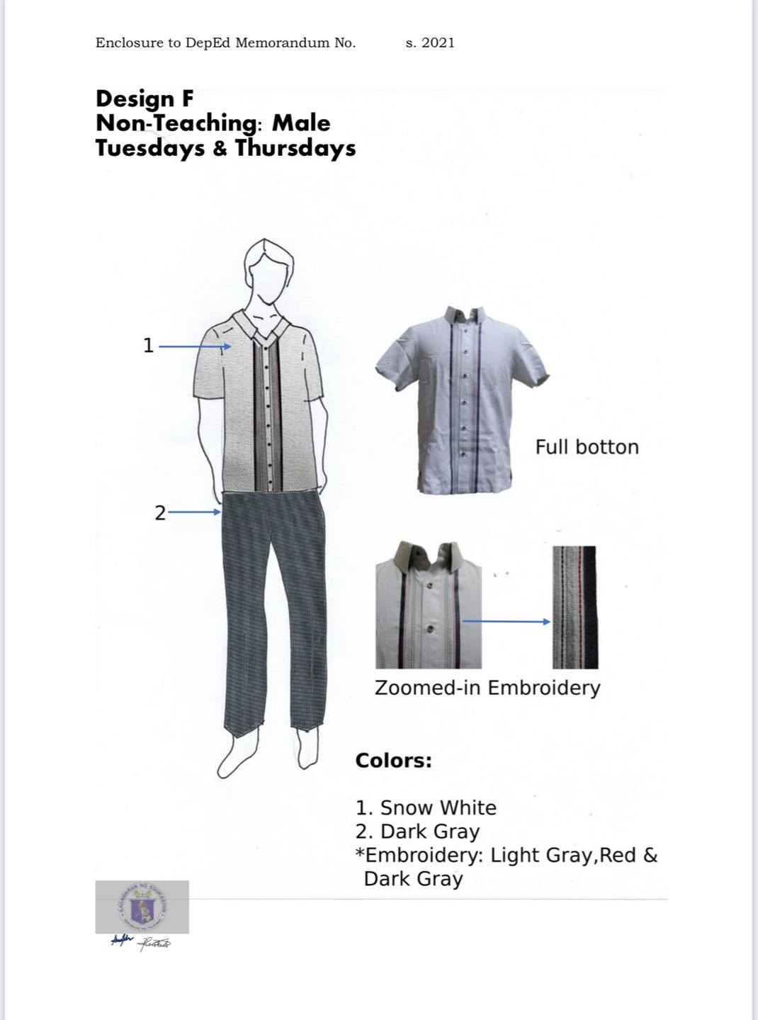 DepEd National Uniform Design F for Male Non-Teaching Personnel (Tuesdays and Thursdays)