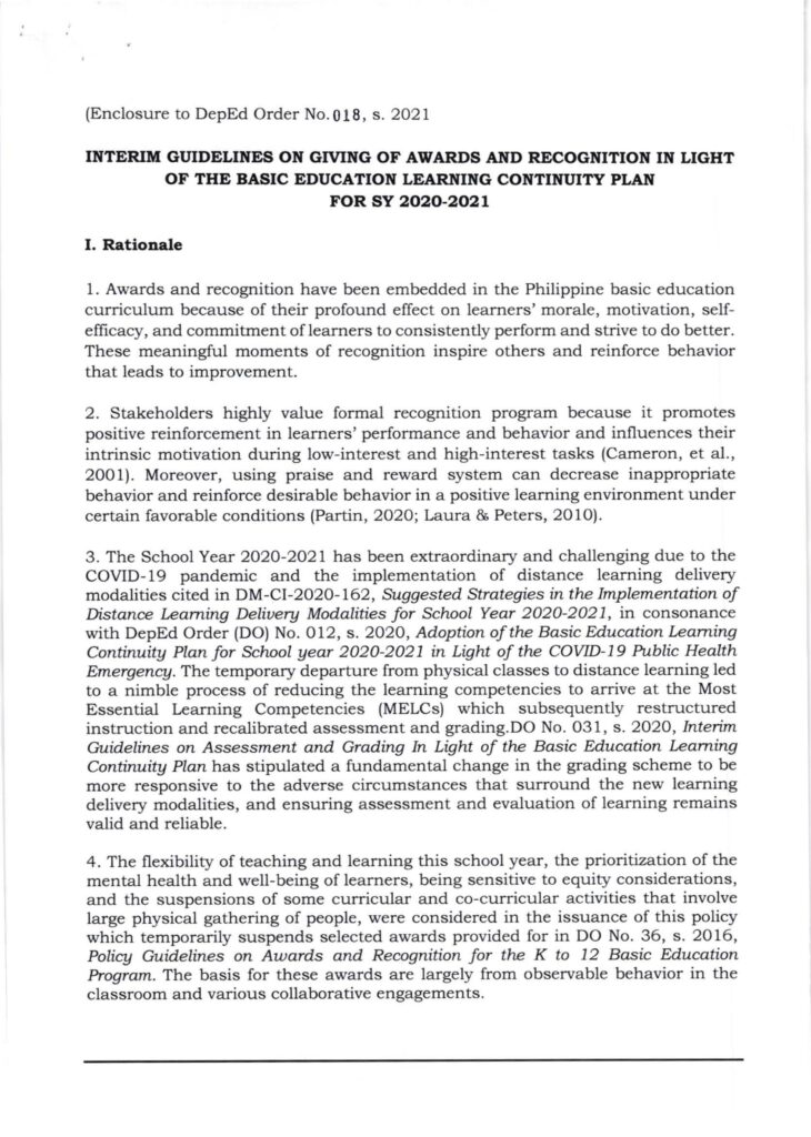 DepEd Interim Guidelines on Giving of Awards and Recognition in Light of the Basic Education Learning Continuity Plan for School Year 2020-2021