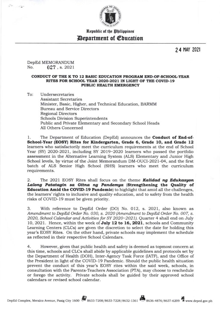DepEd Conduct of the K to 12 Basic Education Program End-of-School-Year Rites for School Year 2020-2021 in Light of the COVID-19 Public Health Emergency