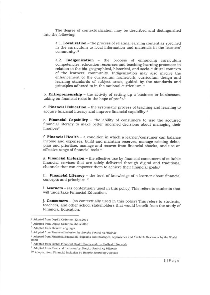DepEd Financial Education Policy (DepEd Order No. 22, s. 2021)