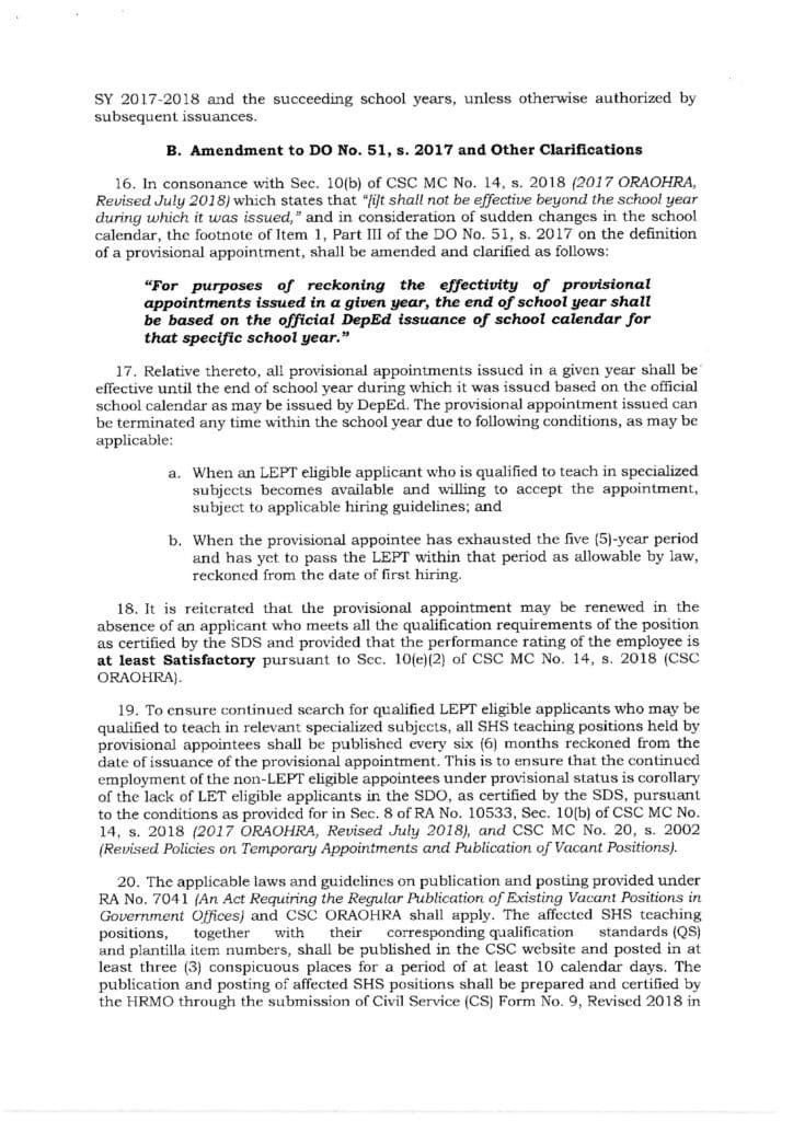 DepEd Guidelines on the Renewal of Provisional Appointment of Senior High School Teachers - 0001