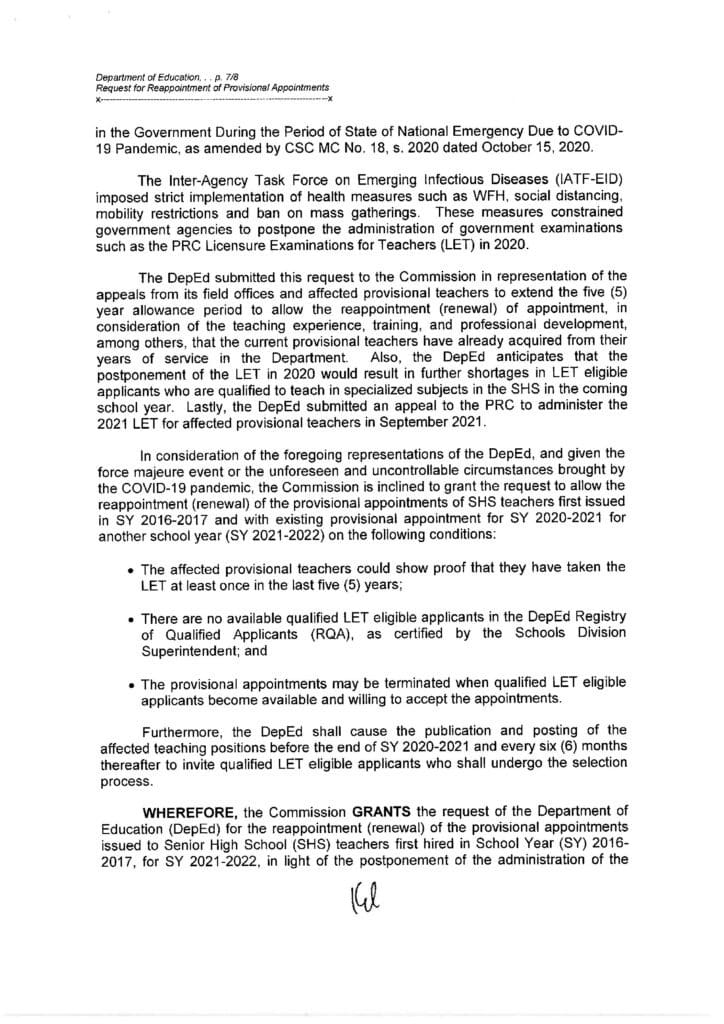 CSC Resolution No. 2100451 on the Request for Reappointment (Renewal) of Provisional Appointments of SHS Teachers First Hired in SY 2016-2017