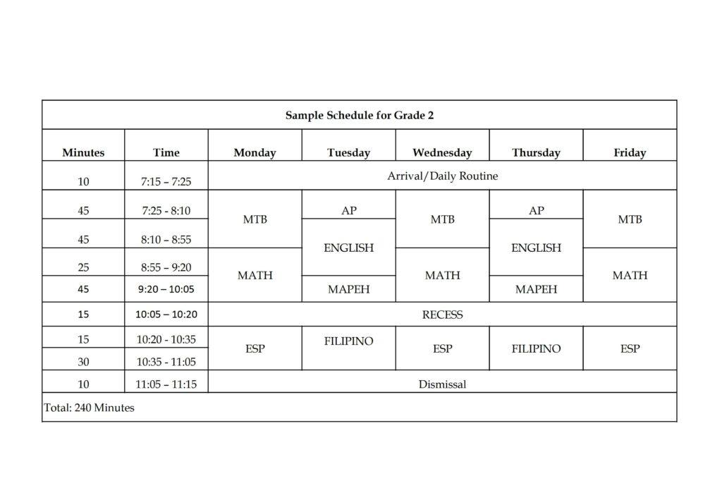 Sample Schedule for Grade 2