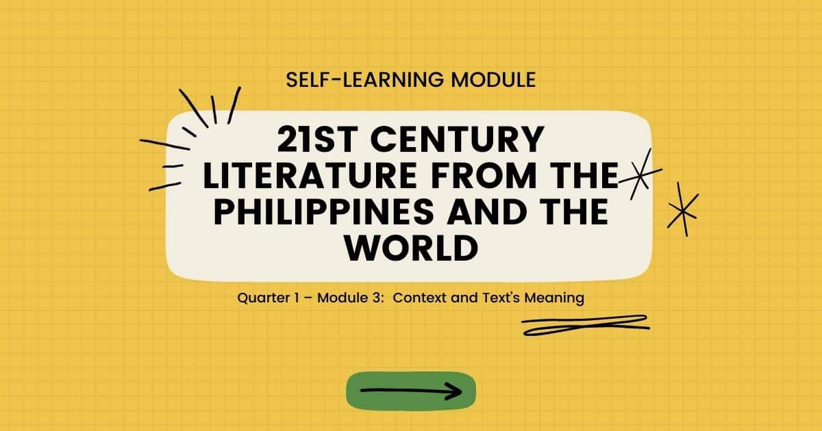 Quarter 1 Module 3 21st Century Literature from the Philippines and the World
