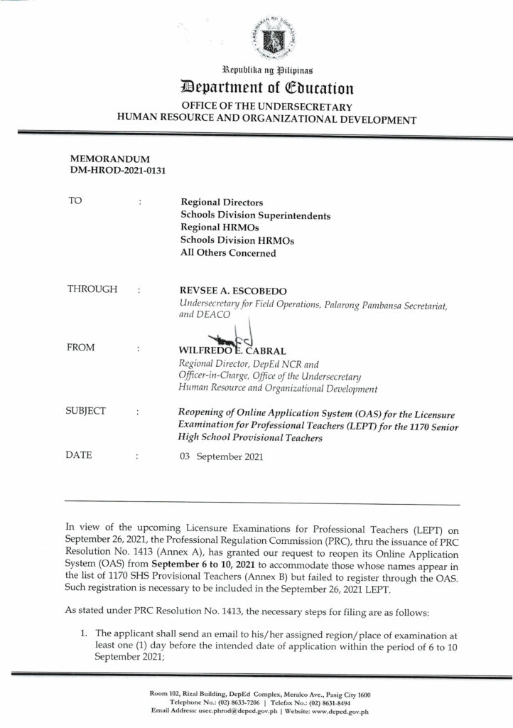 Reopening of Online Application System (OAS) for the Licensure Examination for Professional Teachers (LEPT) for the 1170 Senior High School Provisional Teachers