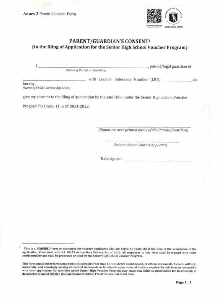 Senior High School (SHS) Voucher Program - Parent Guardian Consent Form
